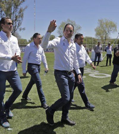 Entrega Gobernador rehabilitación de la Unidad Deportiva de Pedro Escobedo