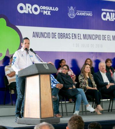 Anuncia Gobernador obras en beneficio de comunidades de El Marqués