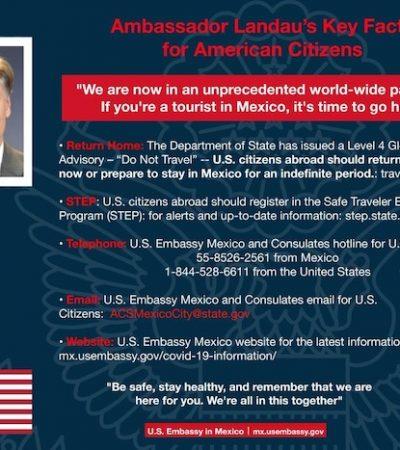 Embajada de EU pide a turistas salir de México
