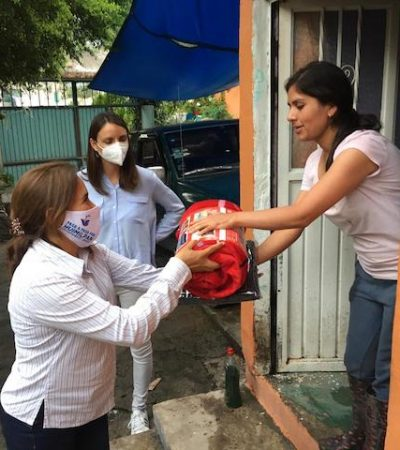 Lety Servín recorre comunidades afectadas por las lluvias