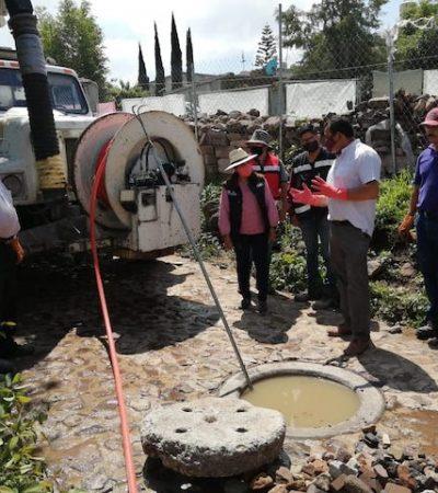 Trabaja Servicios Públicos de Huimilpan en Desazolves de Drenajes
