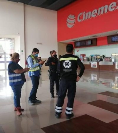 Supervisan medidas sanitarias en cines